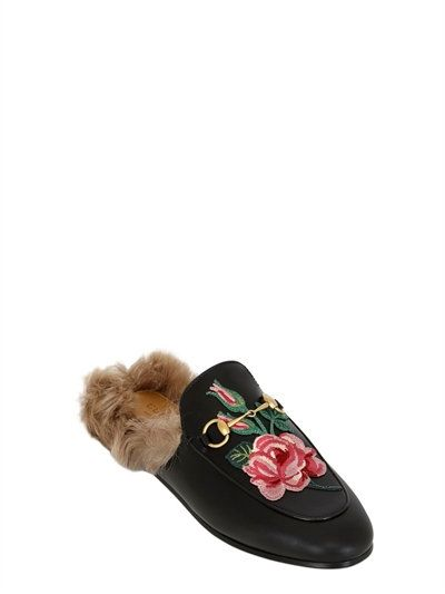 GUCCI 10Mm Princetown Rose Leather & Fur Mules, Black. #gucci #shoes #flats