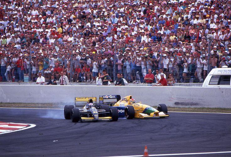Gianni Morbidelli (ITA) (Minardi Team), Minardi M191 - Ferrari Tipo 291, 3.5 V12 and Nelson Piquet (BRA) (Camel Benetton Ford), Benetton B191 - Ford HBA5, 3.5 V8 (France 1991)