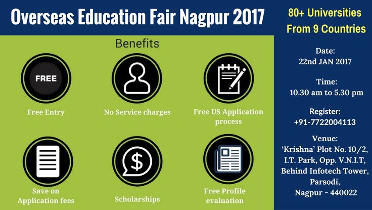 Overseas #Education Fair #Nagpur: Free Entry. Date: 22nd January 2017, Sunday Time: 10.30 AM to 5.30 PM  Venue: Krishna Consultants Nagpur!!