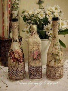 Resultado de imagem para decoupage em garrafa de vinho