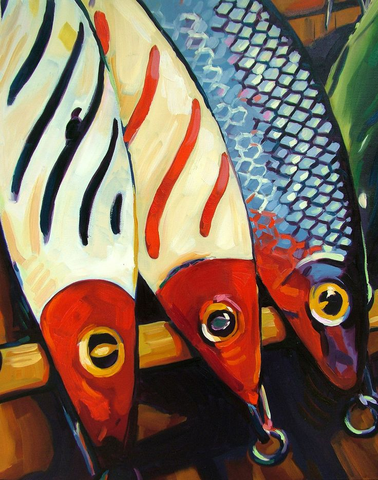 Original Oil Painting of Fishing Lures, Hawaiian Wiggler Lures Still life, 20x24 oil painting on canvas. $960.00, via Etsy.