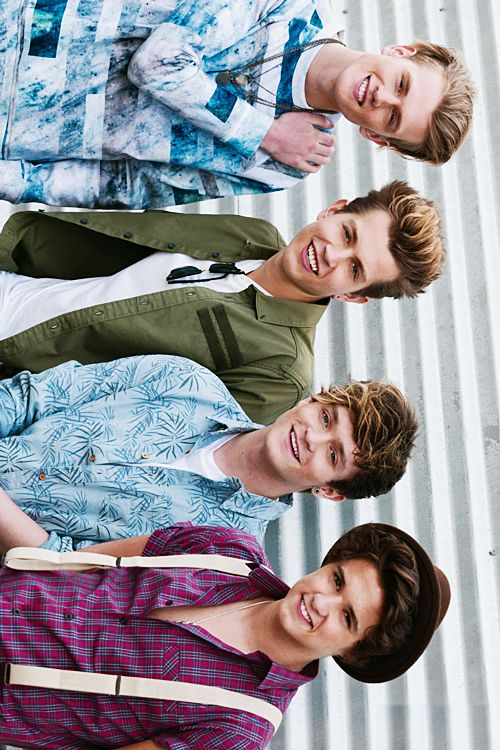 I love the colours in this picture of The Vamps! The Vamps Brad Simpson, James McVey, Connor Ball and Tristan Evans.
