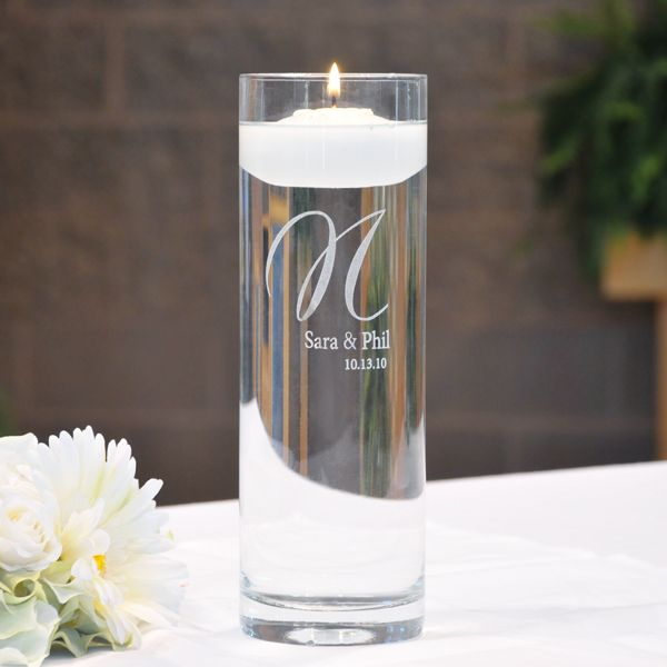 Personalized Elegance Floating Unity Candles ...Very elegant and pure.  I like this for the ceremony