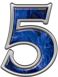 Reflective Number 5 with Inferno Blue Flames