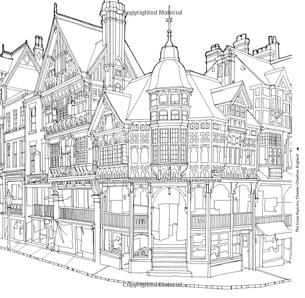 europe landmarks coloring pages | 756 best Adult Colouring~Buildings~Houses ~ Cityscapes ...