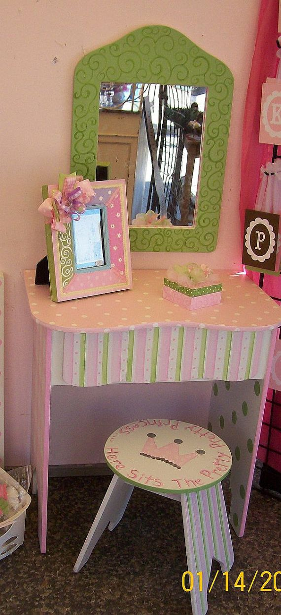 Childs Vanity Set Make up table Dresser 3 Pieces by spoiltrottn, $198.95