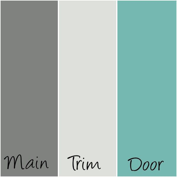 Sherwin Williams Paint- 'Cityscape' (main); 'Nebulous' (trim); and 'Cooled Blue' (door).