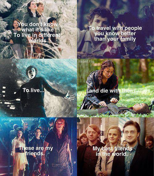 Narnia. The hobbit. Percy jackson. The hunger games. The mortal instruments. Harry potter. Love them <3