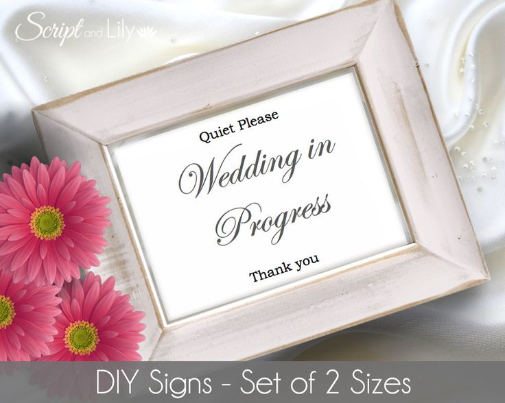 Prinable Wedding In Progress Template | Frame Insert | INSTANT Download | Editable Font, Wording and Colors | Word | Page | Set of 2 Sizes by ScriptAndLily on Etsy