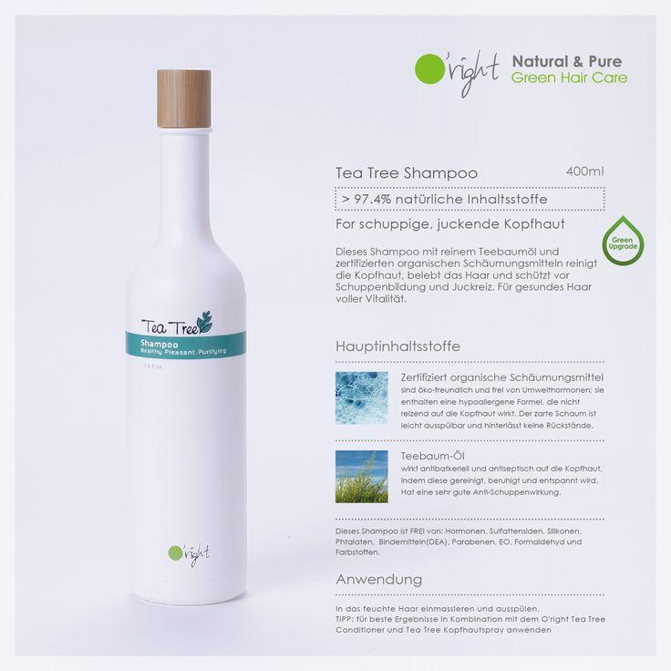 Tea Tree Shampoo - deine O'right Pflege mit >97,4% natürlichen Inhaltsstoffen für schuppige, juckende Kopfhaut.  Dieses Shampoo mit reinem Teebaumöl und zertifizierten organischen Schäumungsmitteln reinigt die Kopfhaut, belebt das Haar und schützt vor Schuppenbildung und Juckreiz. Für gesundes Haar voller Vitalität.