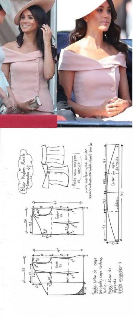 Blusa ombro a ombro Meghan Markle | DIY - molde, corte e costura - Marlene Mukai