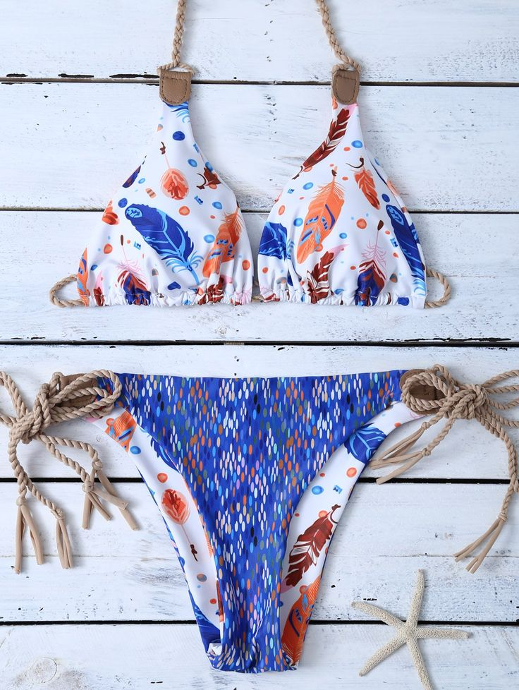 Halter Reversible Feather Print String Bikini - BLUE/WHITE XL