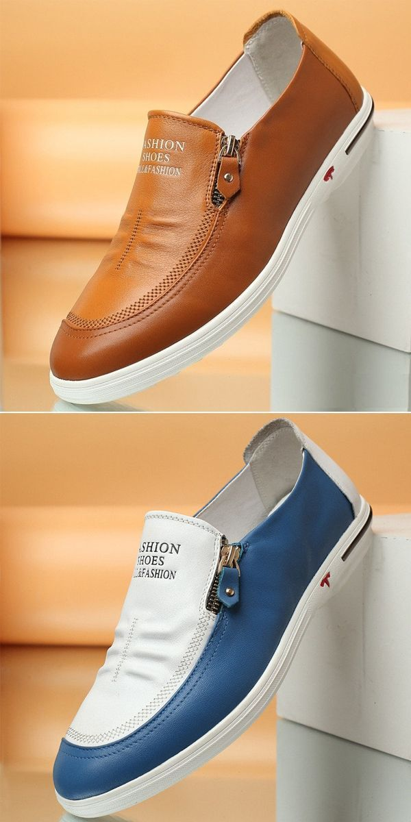 US 45.89 Men Side Zipper Soft Low Top Slip On Casual Shoes shoes  simple   workfromhome  Mensaccessories b0d954fccd0