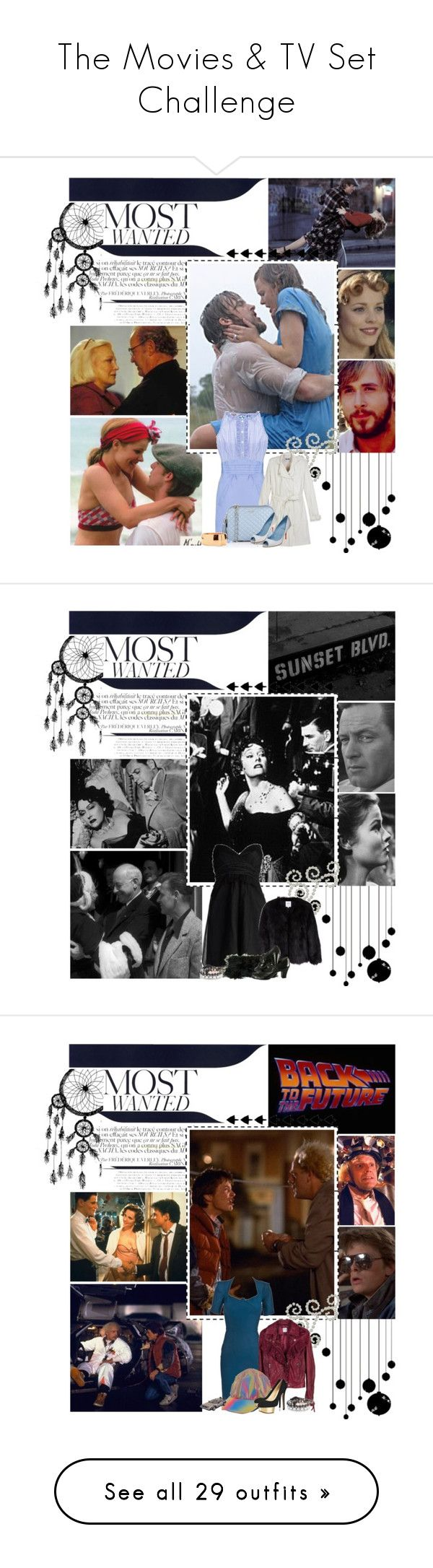 """""""The Movies & TV Set Challenge"""" by miss-kubelik ❤ liked on Polyvore featuring the notebook, the movies & tv set challenge, sunset blvd, back to the future, the usual suspects, bonnie & clyde, the silence of the lambs, susan dey, david cassidy and the sting"""
