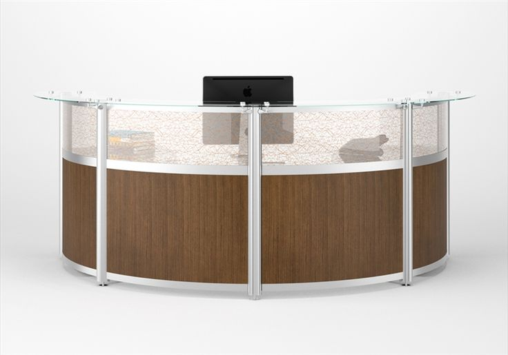 12FT Curved Reception Desk with frosted acrylic and high pressure laminate dividers available in wide variety of finishes - such as Amati walnut, Inspiration, Fiinish Oak, Nova white etc.