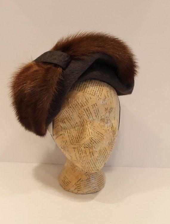 Vintage 1940's Ladies Formal Hat  Fur Hat  Ladies by FunkieFrocks