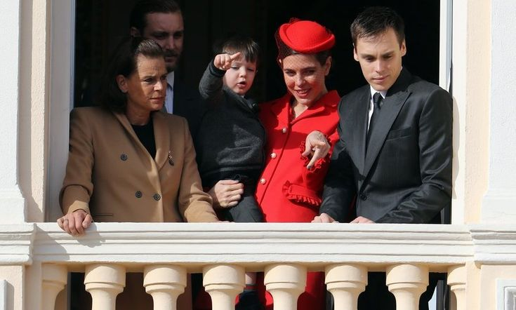 Charlotte Casiraghi pointed out the happenings below to son Raphaël, whose dad is the royal's ex-partner, actor Gad Elmaleh. Joining them on the balcony were Princess Stephanie, left, and her son Louis Ducruet, 23.<br><p>Photo: © Getty Images</p>