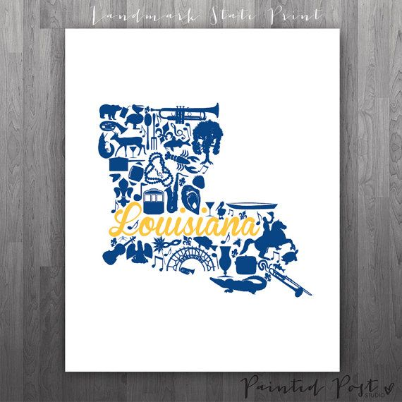 Baton Rouge Louisiana Landmark State Giclée Print  by PaintedPost, $15.00 #paintedpoststudio - Southern University - Jaguars- What a great and memorable gift for graduation, sorority, hostess, and best friend gifts! Also perfect for dorm decor! :)