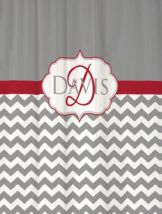 Standard And Extra Long Monogrammed Shower Curtain You Choose Colors!  Chevron 78 Or 84 Inches