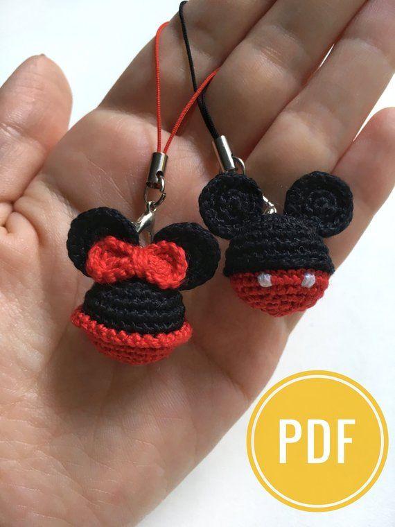 Mickey&Minnie Mouse crochet pattern Disney Minnie Mouse Keyring Mickey Mouse Key Chains Ornament pdf