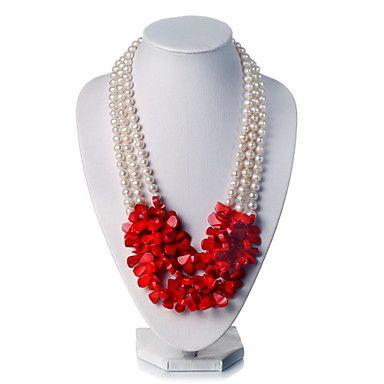 Splendida Bianco 7-8mm perla d'acqua dolce irregolare corallo rosso Lunghezza 17'' collana – EUR € 74.24