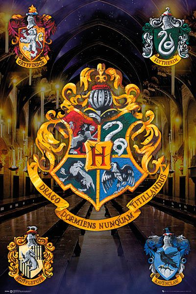 Póster Escudos Harry Potter Estupendo póster con la imagen de las cuatro casas de la escuela de Hogwarts de Harry Potter.