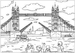 Tower Bridge colouring page.