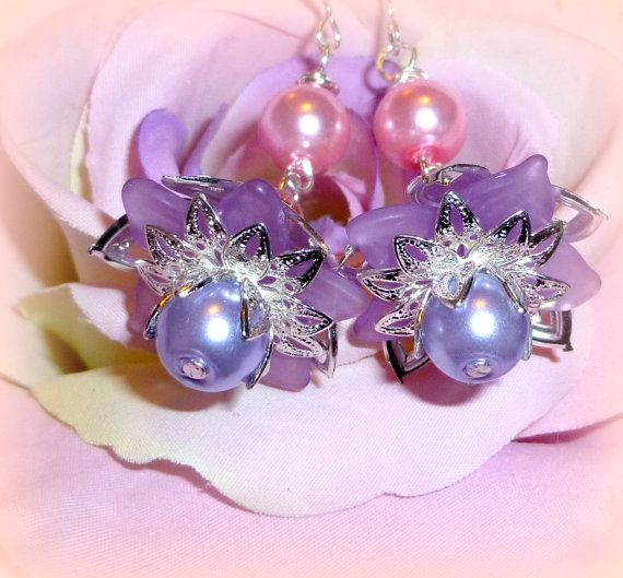 Purple Lucite Flower Earrings with Silver Petals by BlissfulVine, $28.00