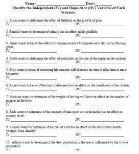Independent and Dependent Variable Worksheet - US Biology Teaching ...