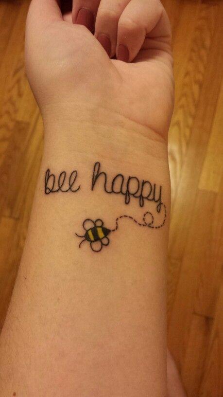 Bee happy tattoo simple fun tattoo | Tattoos | Pinterest ... Stomach Cancer Ribbon