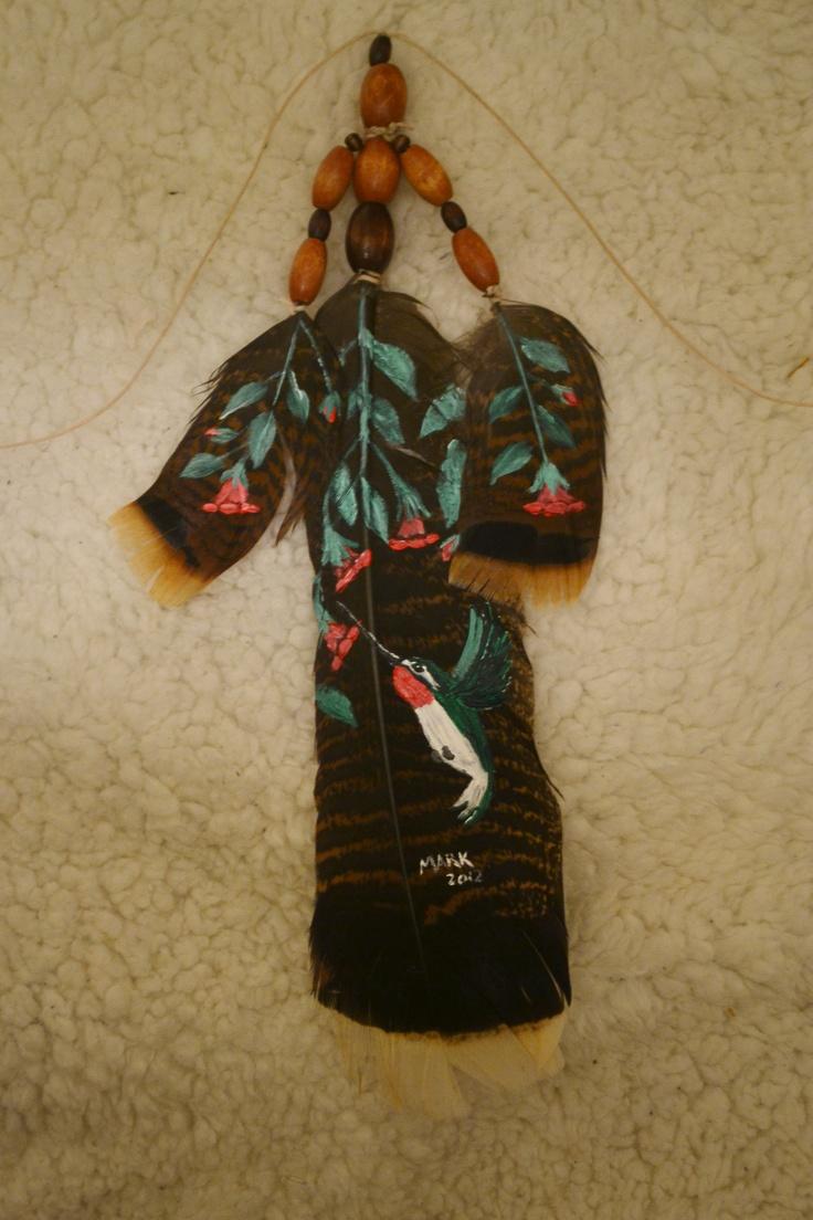 LIL RUBY  acrylic on turkey feathers