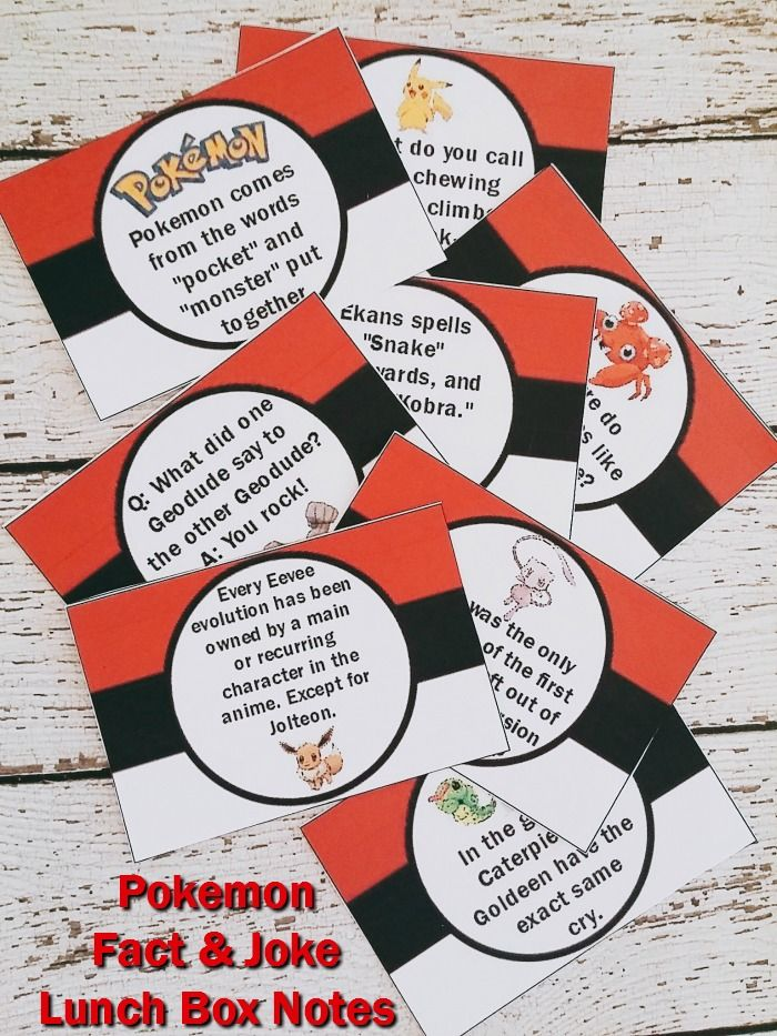 Pokémon lunch box notes have fun facts for the budding Pokémon fan and others have a silly Pokémon joke for your child to share. #Printable #Pokémon #Lunch