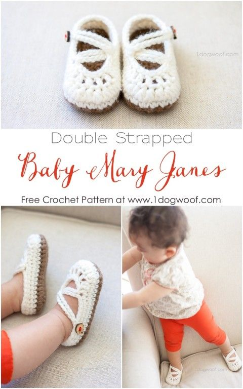 FREE! Adorable baby mary janes crochet pattern! | www.1dogwoof.com