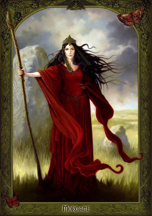 Morgana Le Fay, sendo conhecida na Grã-Bretanha como Morgana das Fadas, dentre outros nomes, aparece nas histórias do Rei Artur. O nome Morgaine tem origem celta e quer dizer mulher que veio do mar. acreditam que Morgana foi uma sacerdotisa da Ilha de Avalon, na Bretanha, meia-irmã de Arthur. É filha de Igraine, e Gorlois, Duque da Cornualha. Morgana é treinada por sua tia Viviane na Ilha de Avalon para se tornar a Senhora do Lago ou como também é chamada Dama do Lago ou Senhora de Avalon.