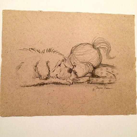Image result for dog + girl sketch  – Zeichnen