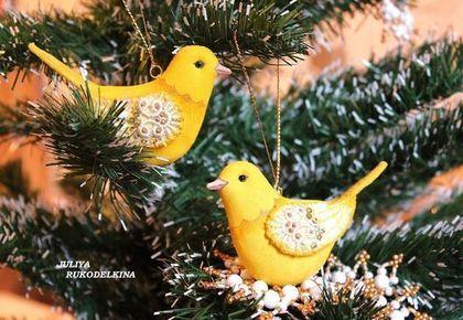 Птицы в зимнем саду (Канарейки, Набор 2шт.) - жёлтый,птицы,птица,желтые птицы