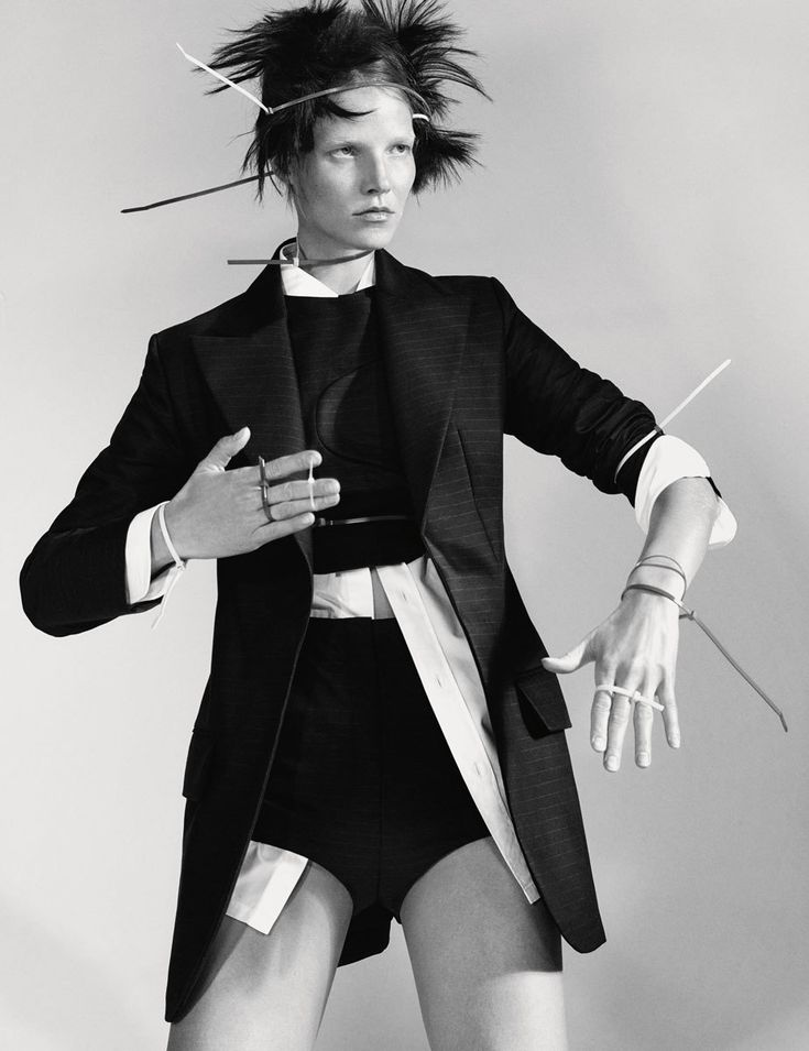 Suvi Koponen wears Jacket, top and shorts Dior. Skirt Charvet. Photography Christian MacDonald i-D