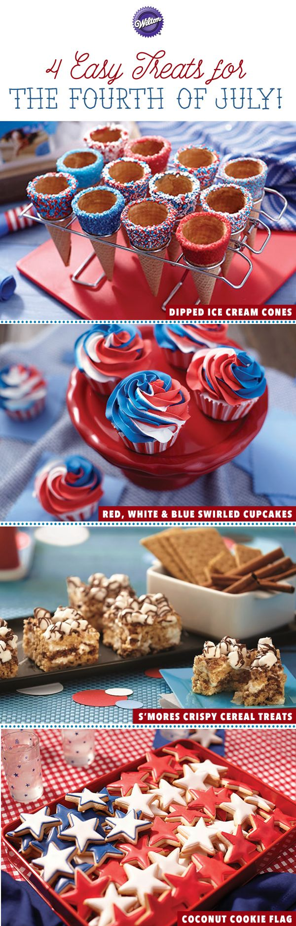 Everyone will be bringing something to the 4th of July picnic, but you can bring the grand finale. Each of these tasty sweet treats captures the flair of the 4th without the fuss. In just a little time, you can add patriotic color and fun flavor to classics like cupcakes, ice cream cones and cookies.