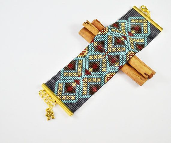 Bracelet woven on a loom  pattern Indian  by SzkatulkaAmiJewelry