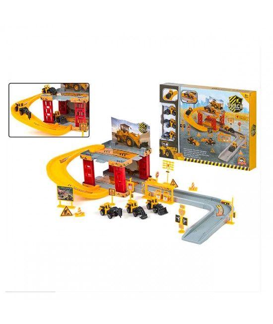 Circuit ce ilustreaza un santier de constructii, cu vehiculele aferente.