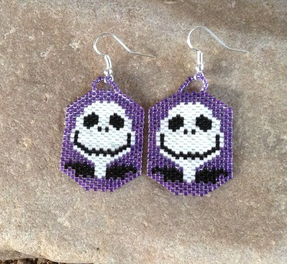 Nightmare Before Christmas Peyote Beaded Earrings