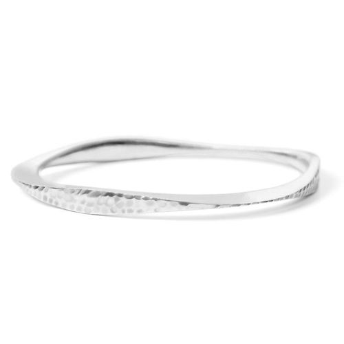 The Tri Bangle in reclaimed sterling silver, featuring matte and hammered finish. Made in New York City by Dana Bronfman. The perfect present for your mom, sister, or best friend for the holidays