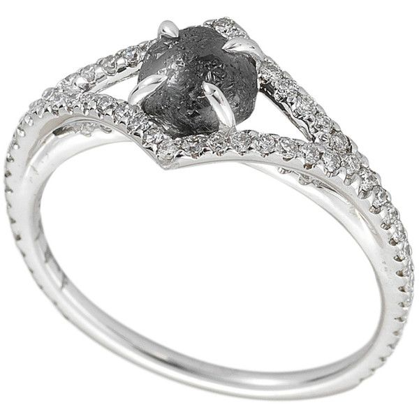 Diamond in the Rough Victorian Black Diamond Ring ($3,800) ❤ liked on Polyvore featuring jewelry, rings, accessories, pave diamond jewelry, victorian ring, black diamond ring, victorian jewelry and pave diamond ring