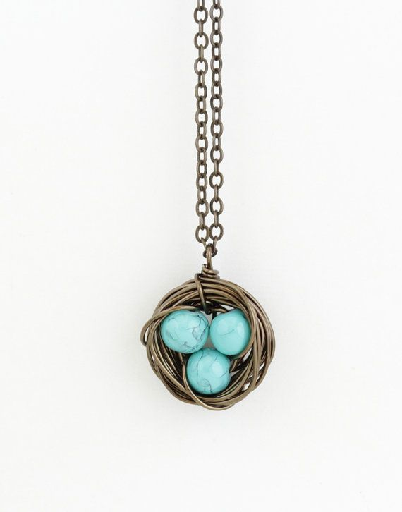 This Whimsical, Rustic Little Brass Bird Nest Necklace Is Made From Wrapped  Antique Brass Colored