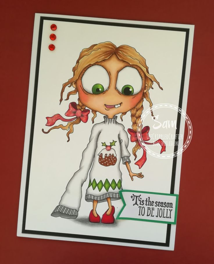 "CAS Card featuring ""Christmas Sweater"" by Bloobel Stamps. Coloured by Sam Lewis using Spectrum Noir Markers. http://thecrippledcrafter.blogspot.co.uk/2016/12/christmas-card-christmas-sweater-by.html?m=1 #TheCrippledCrafter #BloobelStamps #SpectrumNoir #Colouring #Christmas"