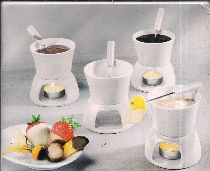 mini schoko fondue fondue set in wei 12 teilig neu in haushaltsger te kleinger te k che. Black Bedroom Furniture Sets. Home Design Ideas