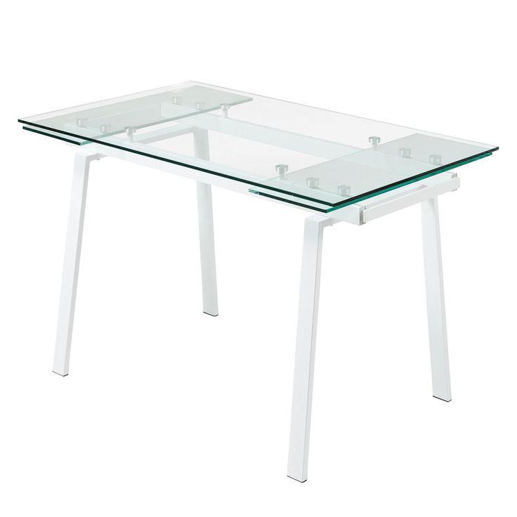 Esstisch Zinola (mit Ausziehfunktion)   Glas / Metall   Weiß, Fredriks  Jetzt Bestellen