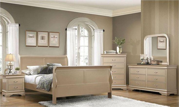 Coaster Hershel 204421 Metallic Champagne Sleigh Bedroom Set #coasterfurniturebedroom