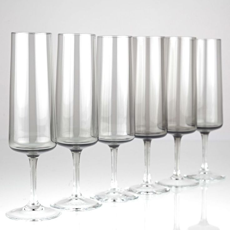 6 Vintage Sektgläser Rauchglas Driburg Sektkelche Kristallgläser 50er 60er K74