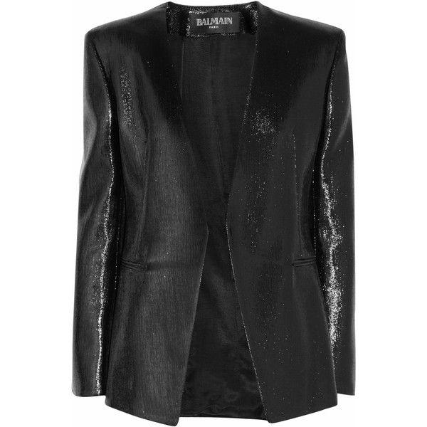 Balmain Lamé jacket (£840) ❤ liked on Polyvore featuring outerwear, jackets, balmain, kurtki, tops, balmain jacket and open front jacket